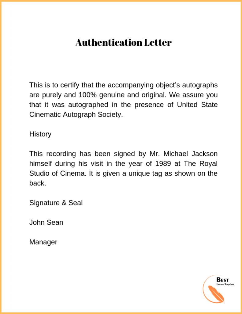 authentication letter