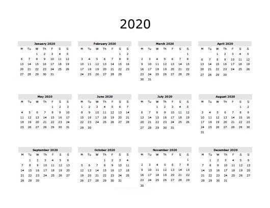 Free Calendar Printable 2020.Blank 2020 Calendar Free Printable 2020 Calendar Uavjgr