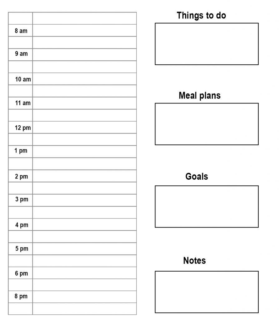 Daily Planner with Time Slots