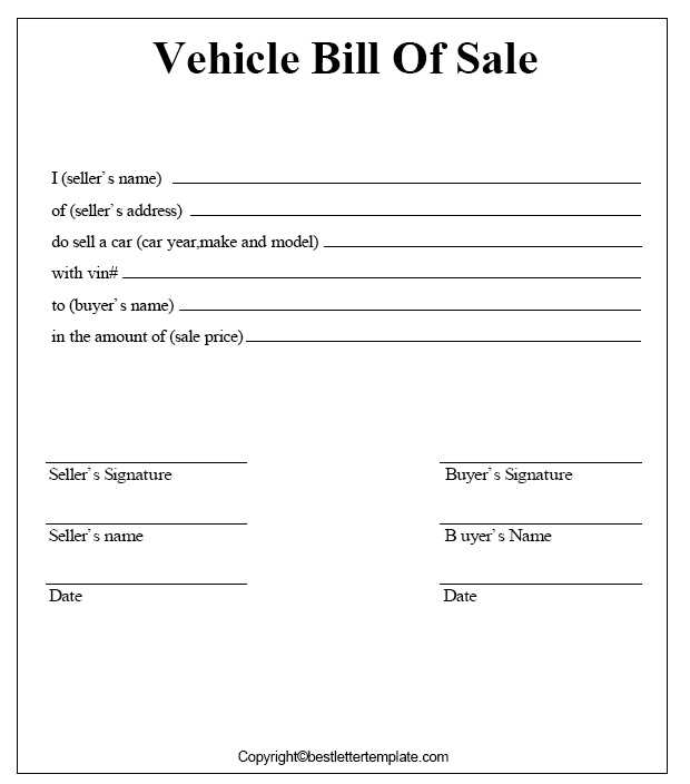Car Bill of Sale for Connecticut