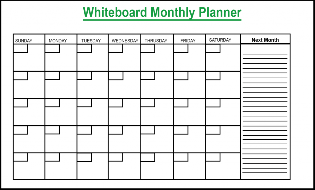 Whiteboard Monthly Planner