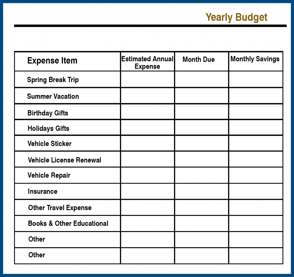 Annual or Yearly Budget Planner