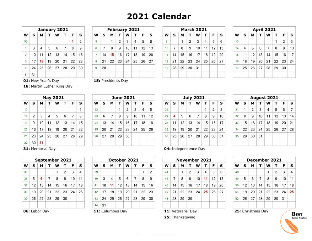 Calendar 2021 with Month