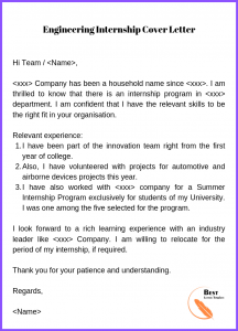 Engineering Internship Cover Letter