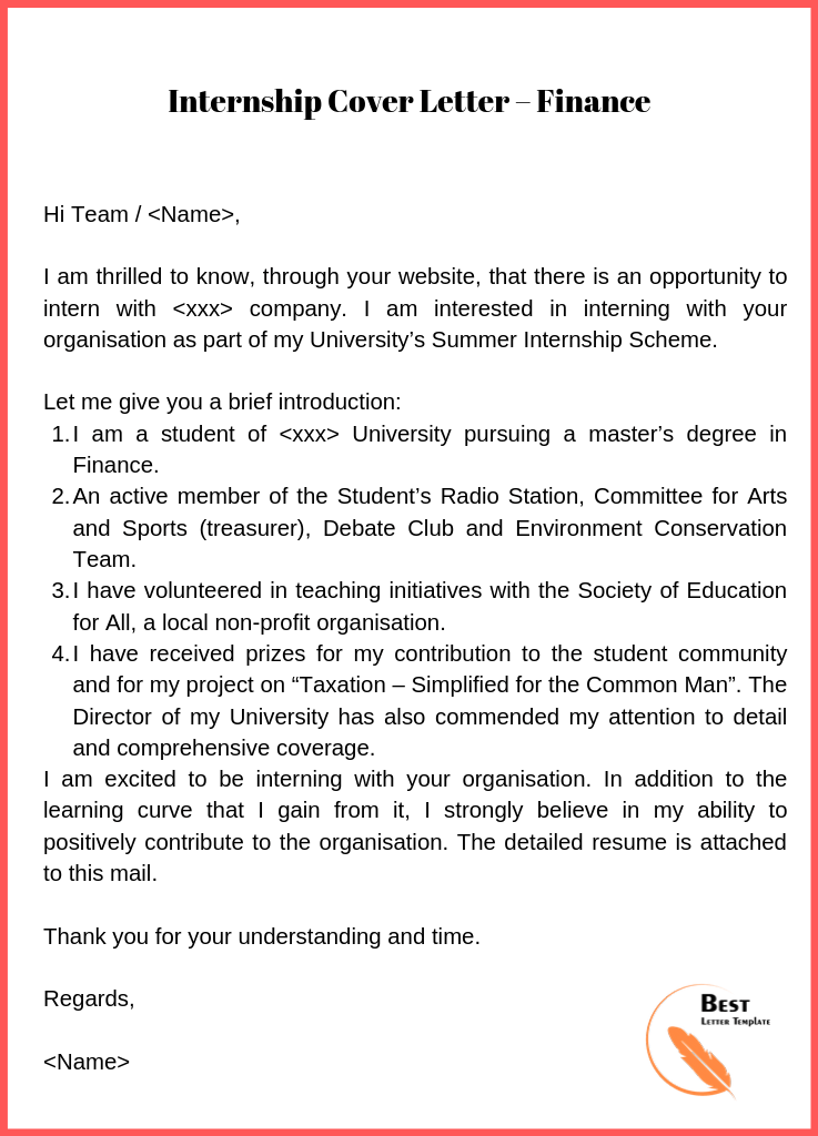 Internship Cover Letter Template – Format, Sample & Example