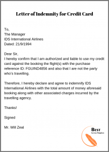Letter of Indemnity for Credit Card Payment