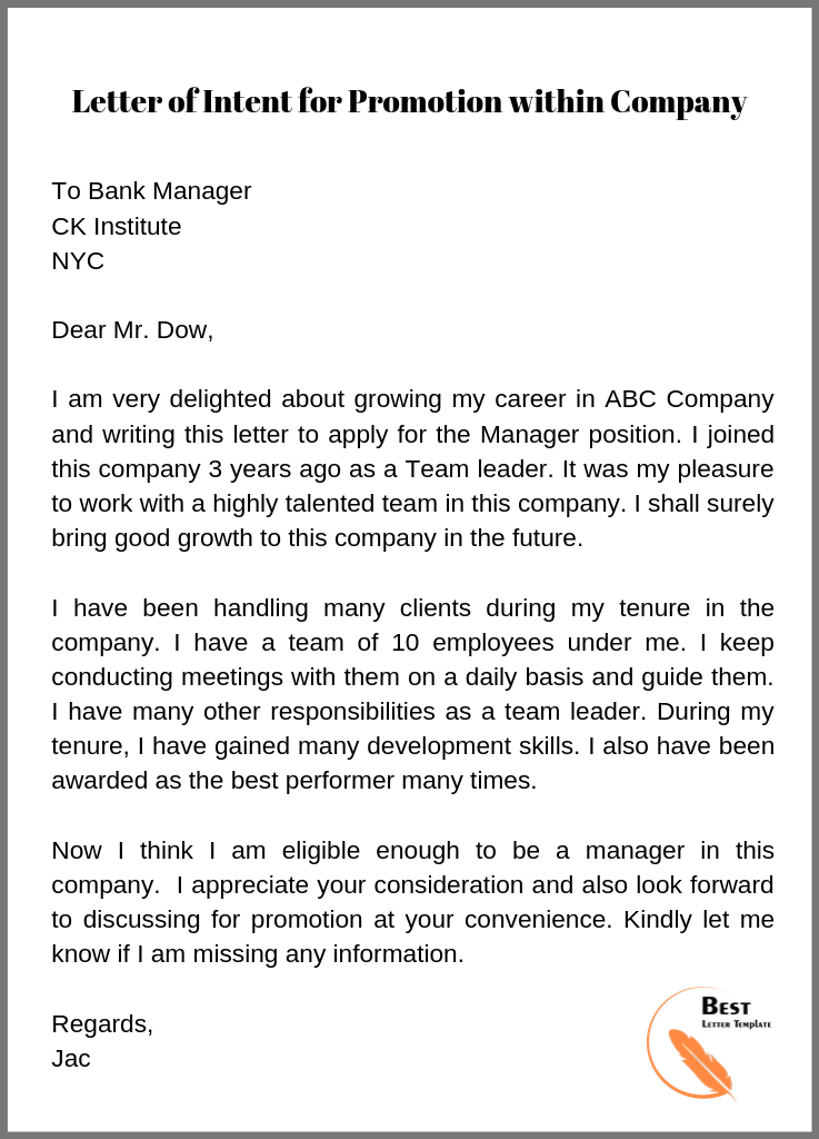 Sample Application Letter For Promotion Within Company from bestlettertemplate.com