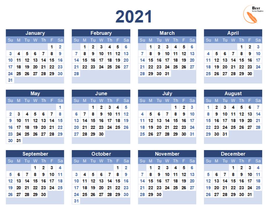 Printable Calendar 2021 Template