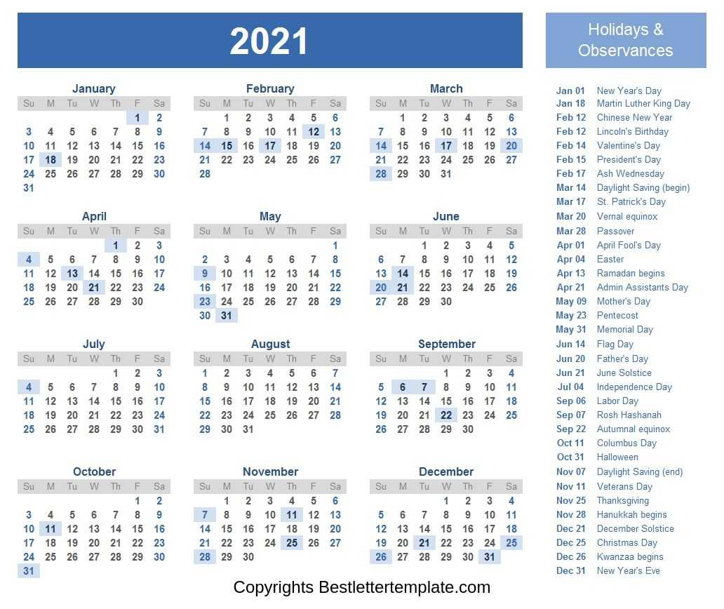 Printable Calendar 2021 with Holidays - Best Letter Template