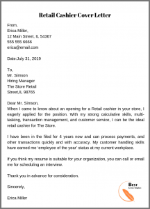 Retail Cashier Cover Letter