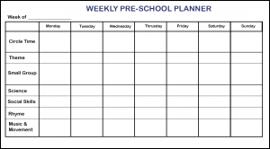 Weekly Planner For Preschool