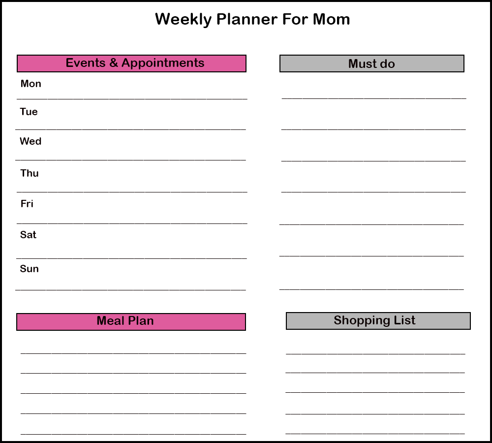 Weekly planner For Moms