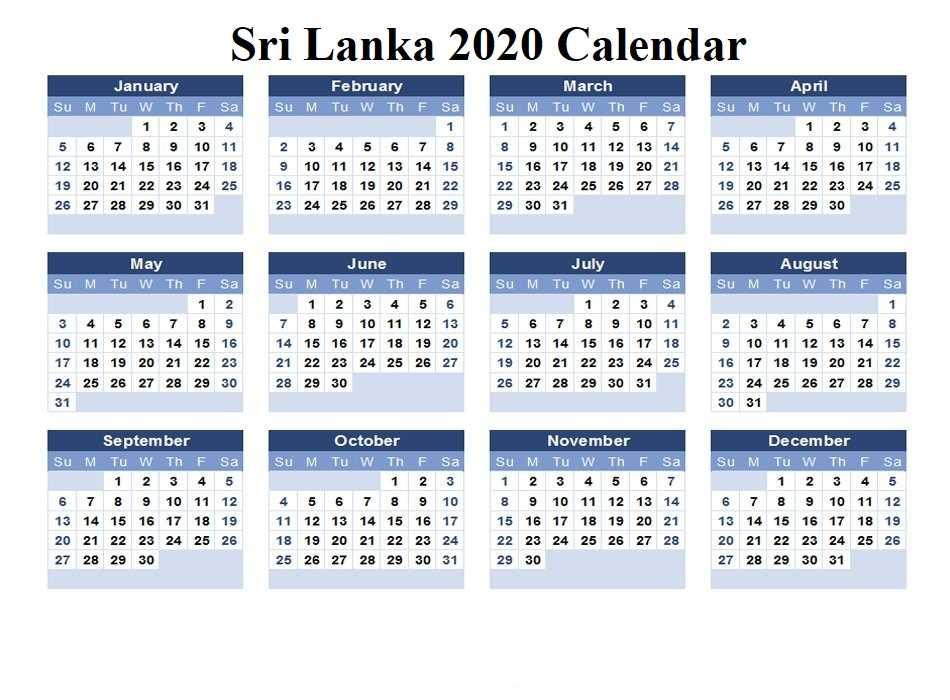 2020 Sri Lanka Calendar