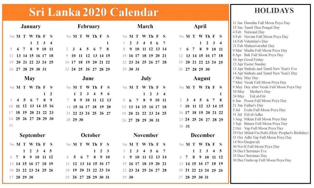 2020 Sri Lanka Public Holidays Calendar