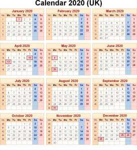 2020 UK Public Holidays Calendar
