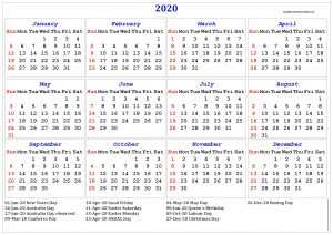 2020 Australia Calendar