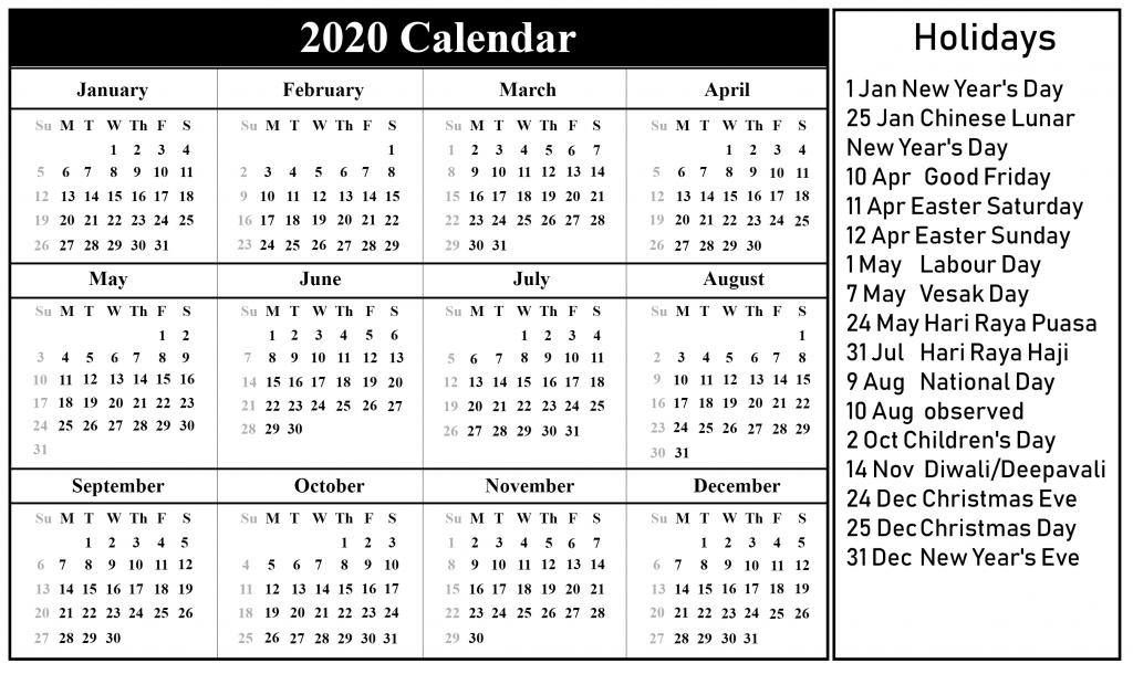 Singapore Holiday Calendar 2020