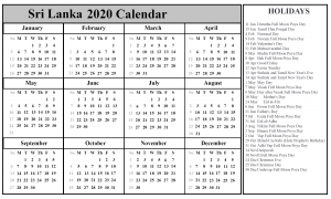 Sri Lanka Holiday Calendar 2020