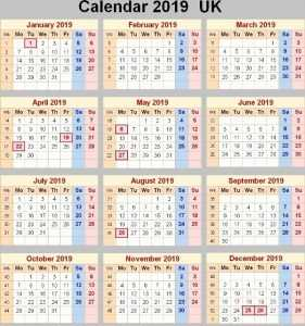UK Holiday Calendar 2020