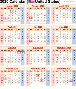 USA Holiday Calendar 2020