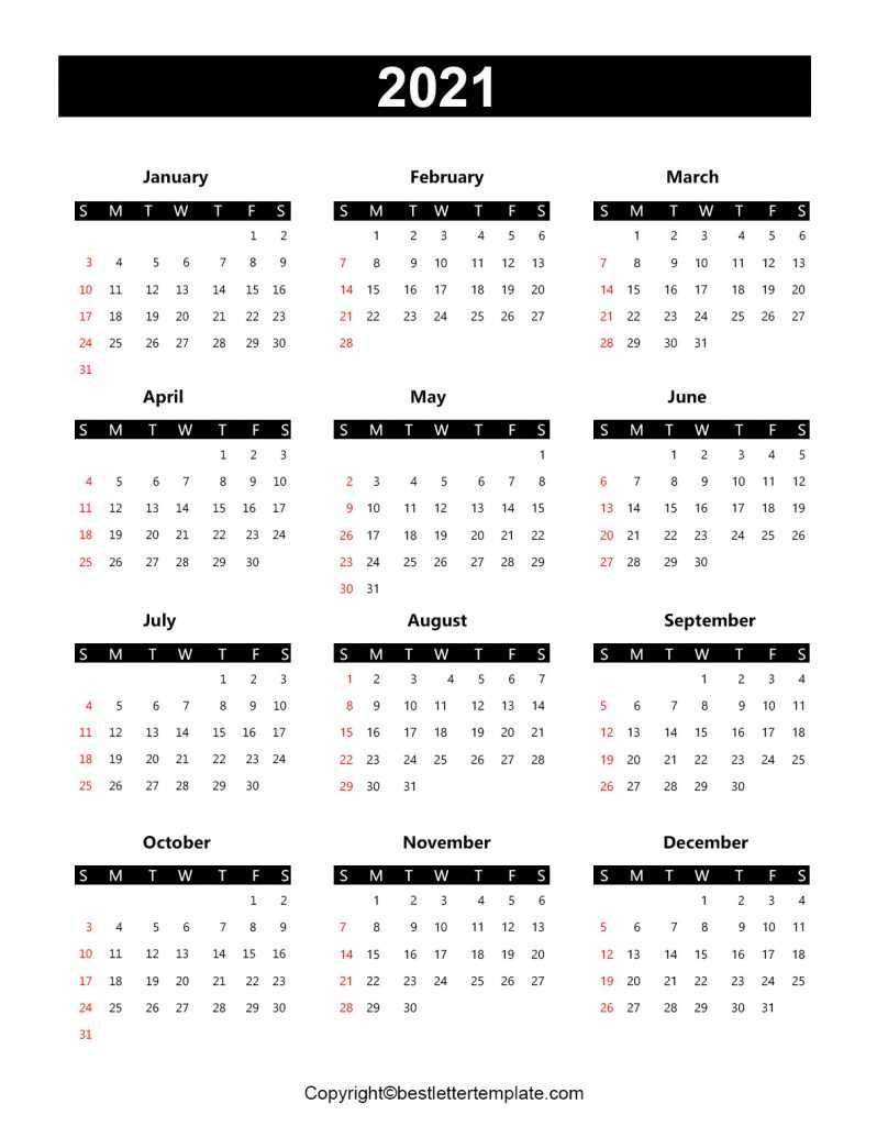 Printable Yearly 2021 Calendar Template In Pdf Word Excel