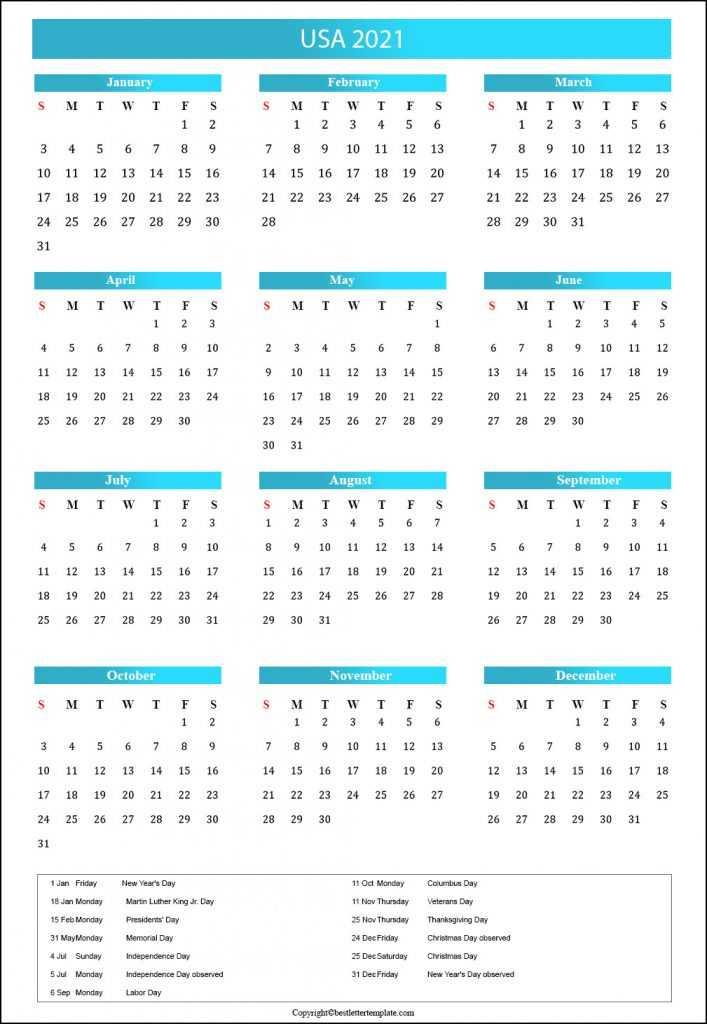 2021 USA Public Holidays Calendar