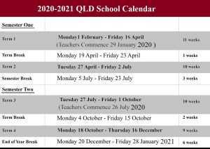 2020-2021 QLD School Holidays