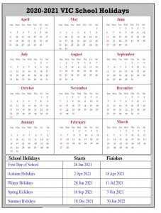 2020-2021 VIC School Holidays