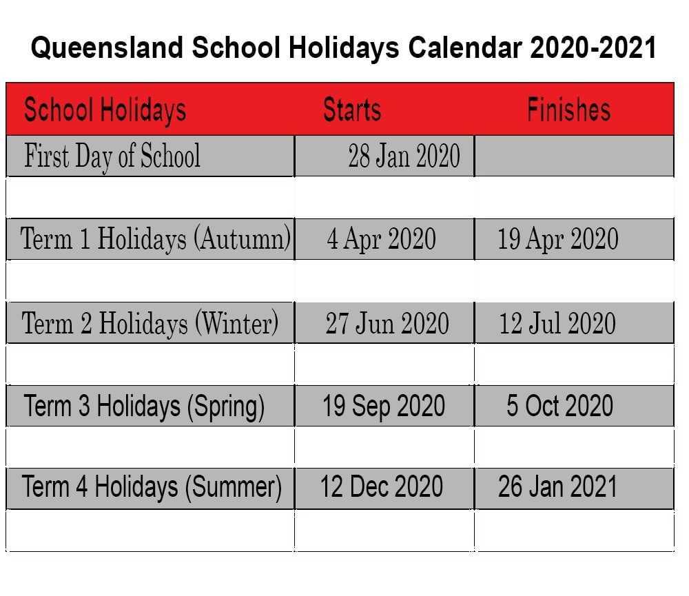 QLD School Holidays Calendar 2020-2021
