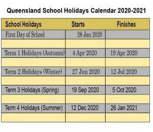 Queensland School Holidays 2020-2021