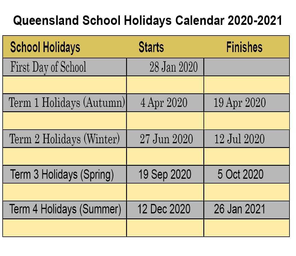 QLD School Holidays 2020-2021