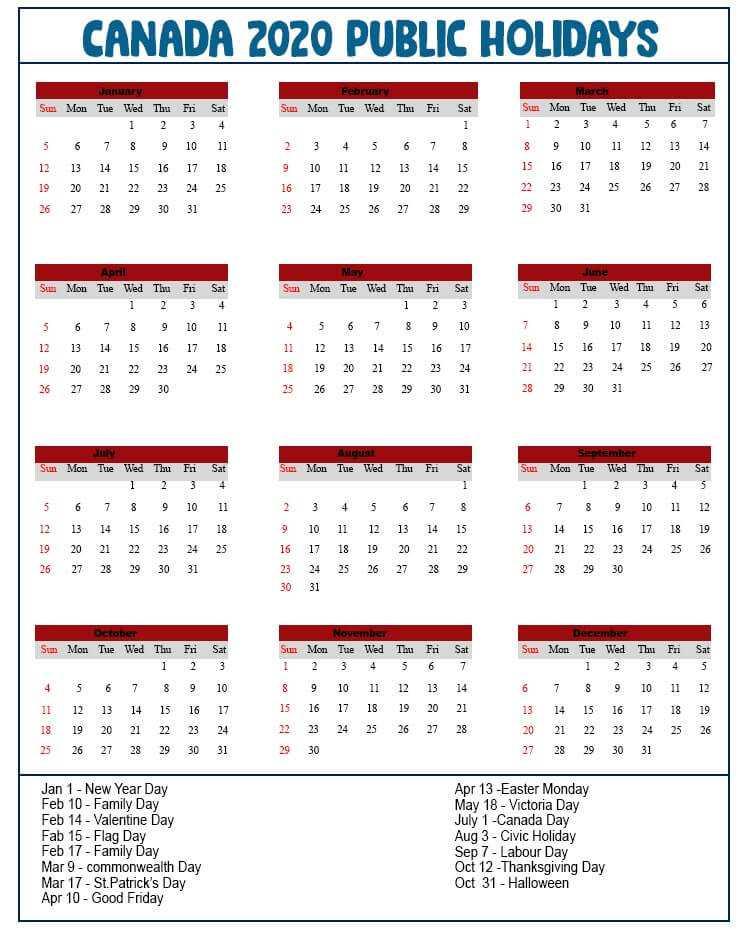 Canada Public Holidays 2020