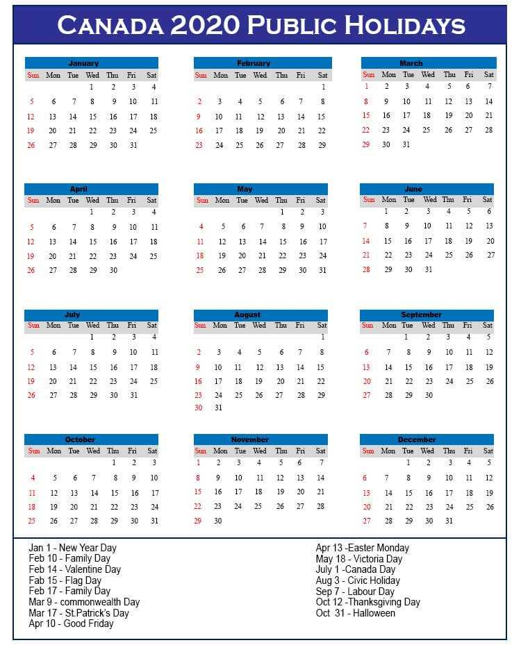 2020 Canada Calendar with Public Holidays