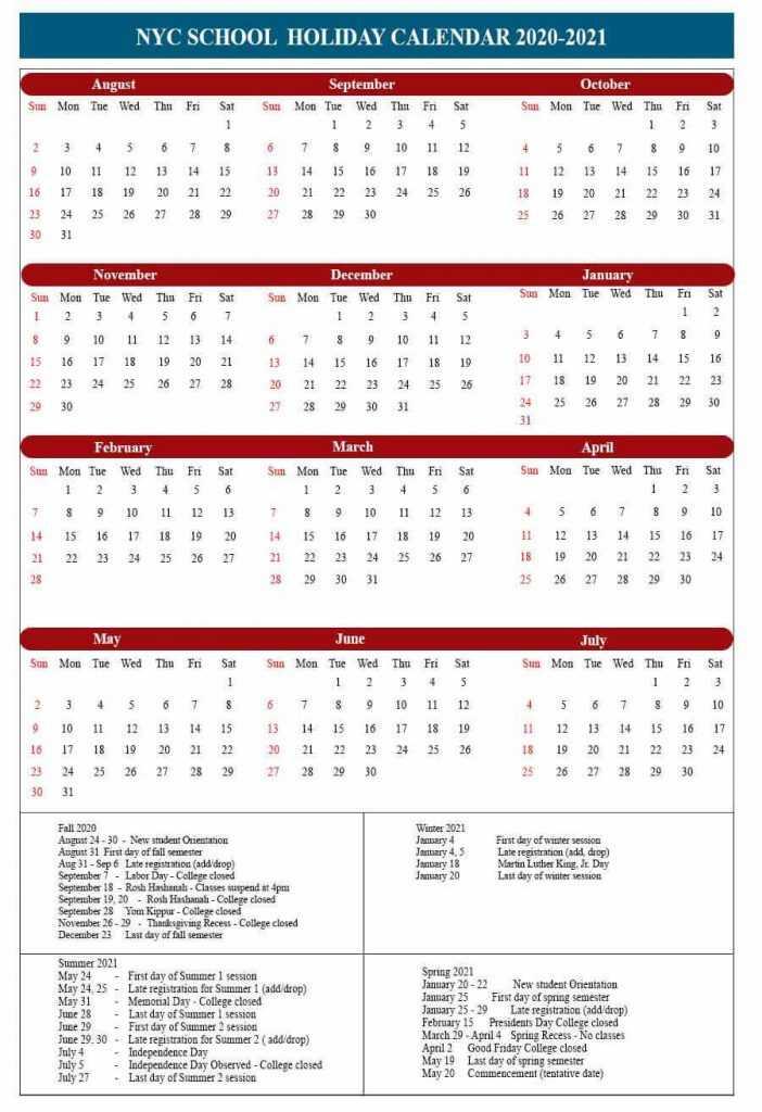Free Printable 2020 21 NYC School Holidays Calendar Template