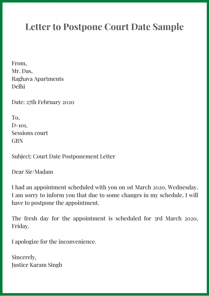 Letter to Postpone Court Date Sample