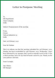 Letter to Postpone Meeting