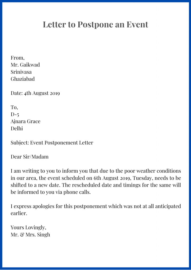 Postpone Letter Reschedule Template Format Sample And Examples