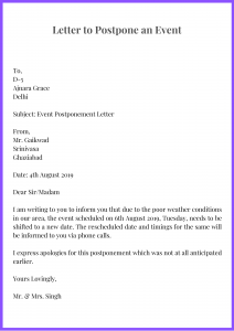 Letter to Postpone an Event