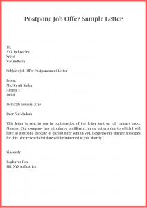 Postpone Job Offer Sample Letter
