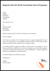Request Letter for WFH Due to Pregnancy