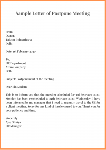 Sample Letter of Postpone Meeting