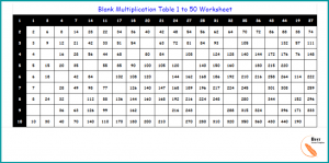 Blank Multiplication Table 1 to 50 Worksheet
