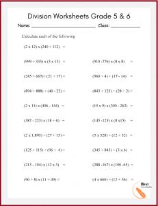 Division Worksheets for grade 5 & 6