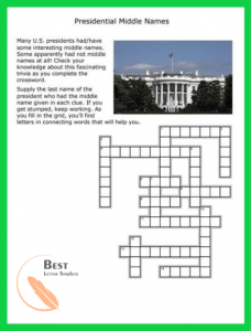 Printable Crosswood Puzzle medium difficulty