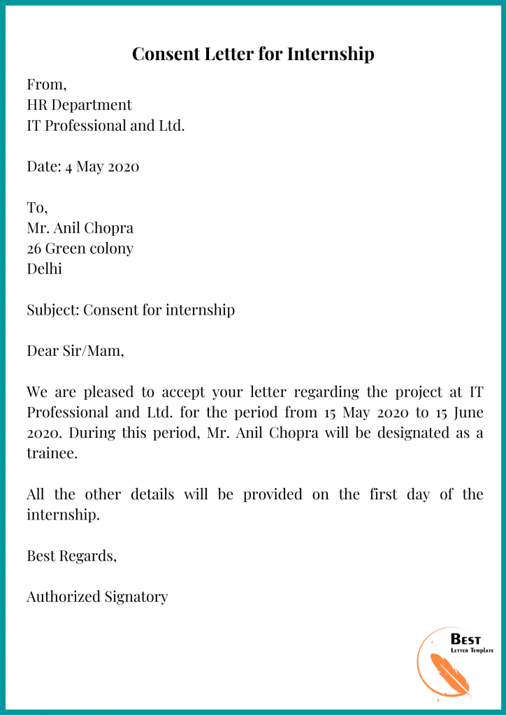 Consent Letter for Internship