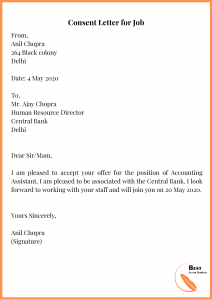 Consent Letter for Job