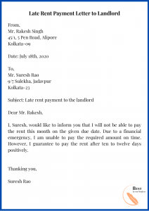 Late Rent Payment Letter to Landlord