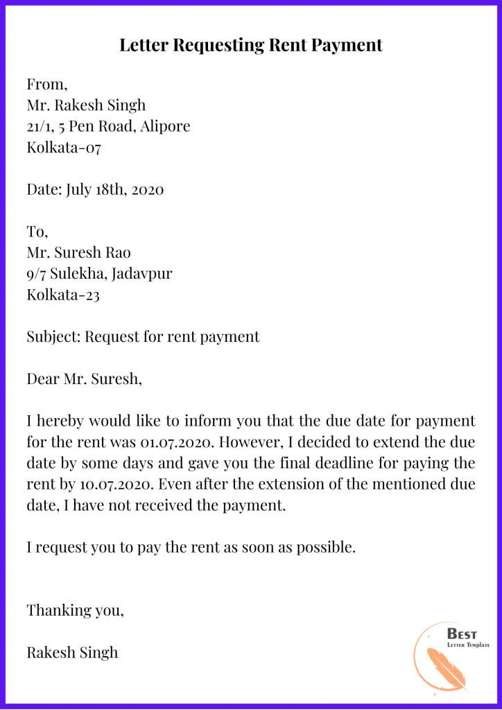 Letter Requesting Rent Payment