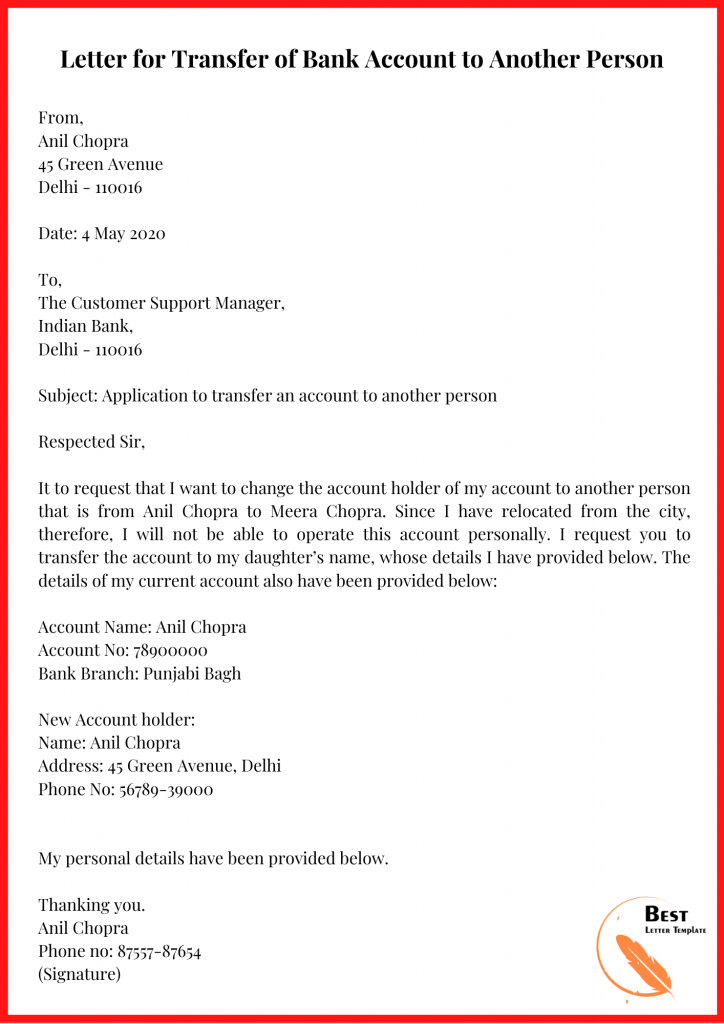 Letter for Transfer of Bank Account to Another Person