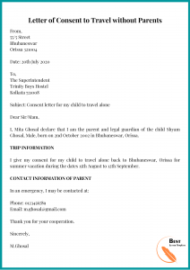 Letter of Consent to Travel without Parents